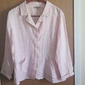 Flax Pink/White Striped Button Down Shirt Size M